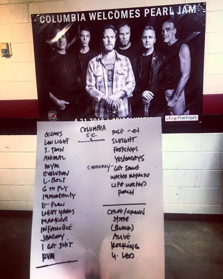 Pearl Jam setlist - Columbia, SC, 21 Apr 2016